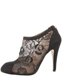 Valentino - Black Crystal-Beaded Lace Ankle Boots - Lyst