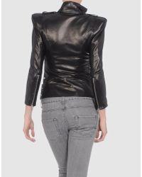 Balmain - Black Zip Detail Leather Jacket - Lyst