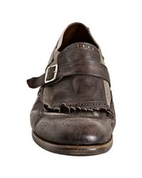 Church's | Brown Leather and Canvas Shanghai Distressed Oxford Loafers for Men | Lyst