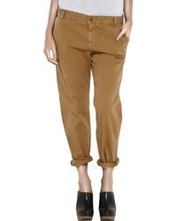 Current/Elliott | Brown The Captain Trouser Cotton Pants | Lyst