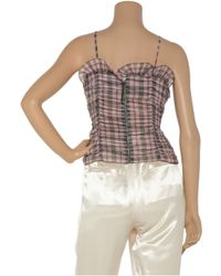 Marc Jacobs - Pink Plaid Cotton-blend Ruffled Camisole - Lyst