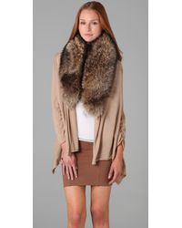 Alice + Olivia - Natural Izzy Cascade Cardigan With Fur Collar - Lyst