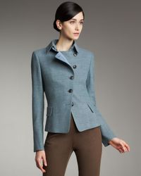 Akris | Blue Tweed Asymmetric Button Jacket | Lyst