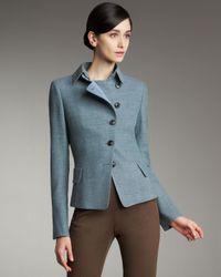 Akris - Blue Tweed Asymmetric Button Jacket - Lyst