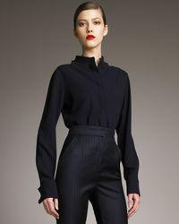 Alexander McQueen | Blue Mandarin-collar Silk Blouse | Lyst