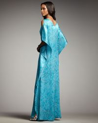 Badgley Mischka - Blue Beaded-waist Printed Caftan Gown - Lyst