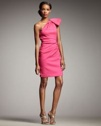 Badgley Mischka | Pink One-shoulder Cocktail Dress | Lyst
