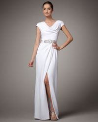Badgley Mischka - White Cowl-neck Beaded-waist Gown - Lyst