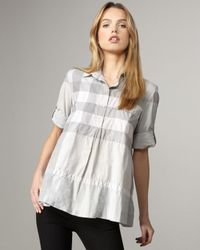 Burberry Brit | Gray Check Babydoll Tunic | Lyst