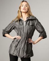 Burberry Brit | Gray Metallic Twill Anorak | Lyst