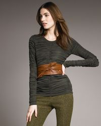 Burberry Prorsum | Natural Ruched Long-sleeve Top | Lyst