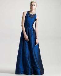 David Meister | Blue Jewel-neck Hammered Satin Gown | Lyst