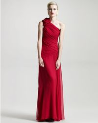 David Meister - Pink One-shoulder Rosette Gown - Lyst