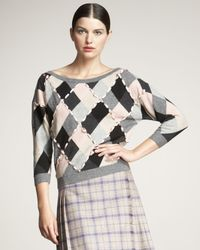 Dior | Gray Laced-ribbon Argyle Sweater | Lyst