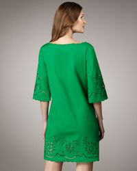 DKNY | Green Half-sleeve Eyelet Dress | Lyst