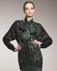 Dolce & Gabbana | Green Long Leopard-print Cardigan | Lyst