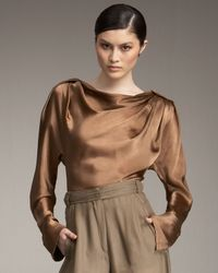 Donna Karan | Brown Reflection Blouse | Lyst