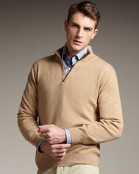 Ermenegildo Zegna | Brown Leather-trim Cashmere Sweater, Tan for Men | Lyst