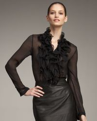 ESCADA | Black Ruffled Chiffon Blouse | Lyst