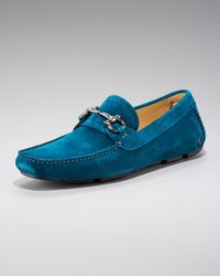 Ferragamo | Parigi Suede Driver, Blue for Men | Lyst