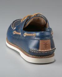 Frye - Sully Boat Shoe, Blue for Men - Lyst