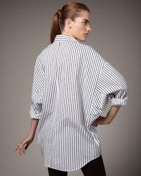 Go> By Go Silk | Blue Striped Big Shirt | Lyst