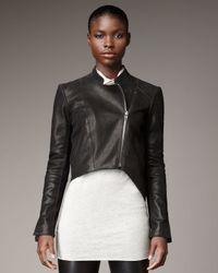 Helmut Lang   Black Cropped Leather Jacket   Lyst