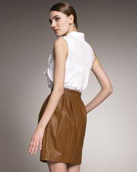 Jason Wu - Brown Rachelle Front-zip Leather Skirt - Lyst