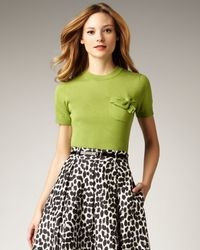 kate spade new york | Green Kit Bow-pocket Sweater | Lyst