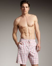 Lacoste | Pink Check Boardshorts for Men | Lyst