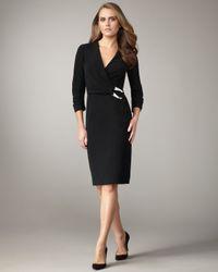 Lafayette 148 New York | Black Buckle-waist Dress | Lyst