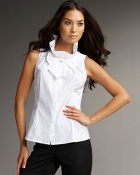 Lafayette 148 New York | White Clarissa Ruffled Stretch-cotton Top | Lyst