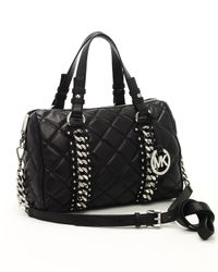 MICHAEL Michael Kors | Black Quilted Chain-detail Bag, Medium | Lyst