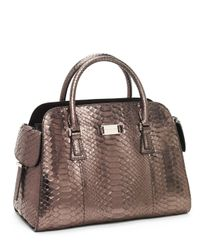 Michael Kors | Brown Gia Satchel, Anthracite | Lyst
