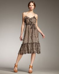 MILLY   Brown Luciana Ruffle Dress   Lyst