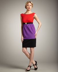 MILLY | Multicolor Natalie Belted Colorblock Dress | Lyst