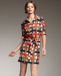 MILLY | Blue Melissa Plaid Silk Shirtdress | Lyst