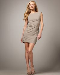 Nicole Miller | Natural Pleat-detail Twill Dress | Lyst