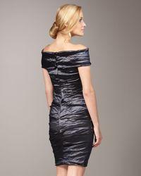 Nicole Miller - Blue Off-the-shoulder Techno Dress - Lyst