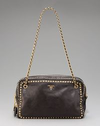 Prada | Black Glace Calf Coated Calfskin Chain Bag | Lyst