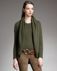 Ralph Lauren Black Label - Natural Cashmere Cable-knit Cardigan - Lyst
