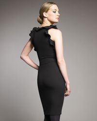 RED Valentino - Jersey Ruffle-trim Dress, Black - Lyst