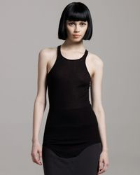 Rick Owens | Black Ribbed Racerback Tank, Dark Shadow | Lyst