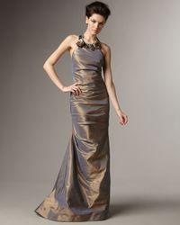 Teri Jon | Metallic Embellished Halter-neck Taffeta Gown | Lyst