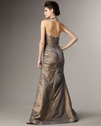 Teri Jon - Metallic Embellished Halter-neck Taffeta Gown - Lyst