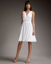 Teri Jon | White Rosette Dress | Lyst