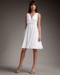 Teri Jon - White Rosette Dress - Lyst