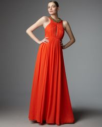 Robert Rodriguez | Orange Alexandra Beaded-neck Gown | Lyst