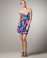 Shoshanna | Multicolor Strapless Tulip-print Dress | Lyst