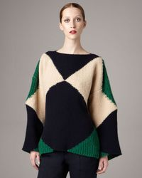Stella McCartney | Blue Geometric-knit Raglan Sweater | Lyst
